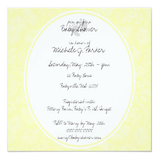 Soft Yellow Flowers Baby Shower Invitation Cards