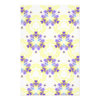 Soft Yellow Lavender Fractal Seamless Pattern Stationery