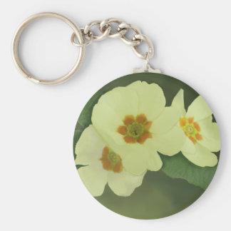 Soft Yellow Primrose Flowers Basic Round Button Key Ring