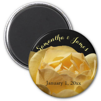 Soft Yellow Rose Personal Wedding Magnet