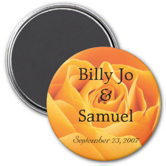 Soft Yellow Rose Personalized Wedding Magnet