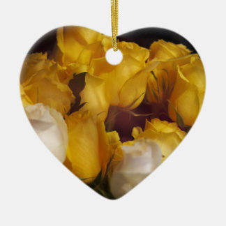 Soft Yellow Roses Ceramic Ornament