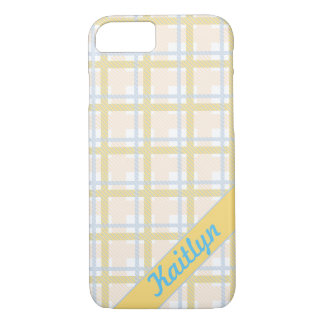 Soft Yellow with Light blue Tartan Striped pattern iPhone 7 Case