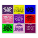 Softball 9 Colour Quote Collage Poster