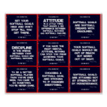 Softball 9 Quote Collage in Red, White and Blue Poster