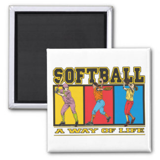 Softball A Way of Life Square Magnet