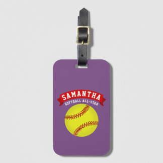 Softball All-Star Luggage Tag