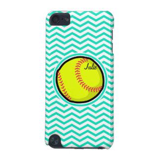 Softball; Aqua Green Chevron iPod Touch (5th Generation) Cases