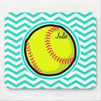 Softball; Aqua Green Chevron Mousepad