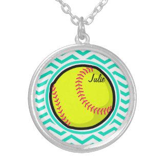 Softball Aqua Green Chevron Custom Necklace