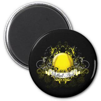 Softball Aunt 6 Cm Round Magnet