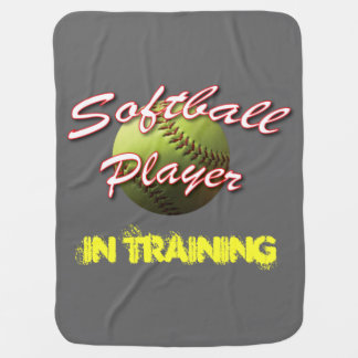 Softball Baby Player In Training Receiving Blanket