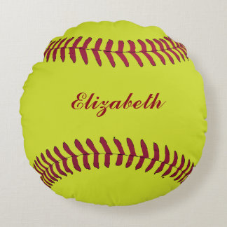 Softball ball Sport Player Name Customise Round Cushion