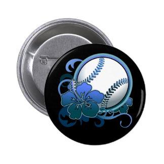 Softball Baseball Tropical Flower Blue Button