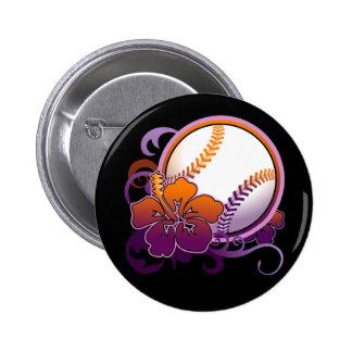 Softball Baseball Tropical Flower Purple Button