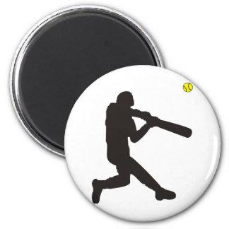 Softball Batter 6 Cm Round Magnet