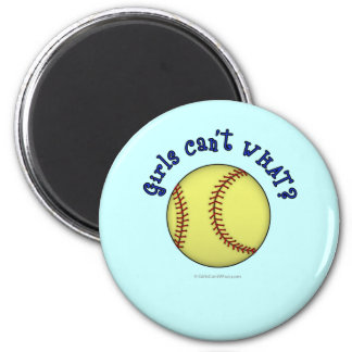 Softball-Blue 6 Cm Round Magnet