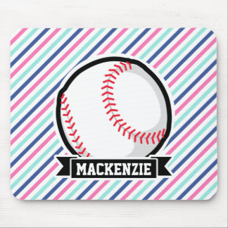 Softball; Blue, Pink, & White Stripes, Sports Mousepads