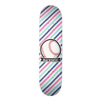 Softball; Blue, Pink, & White Stripes, Sports Skate Boards