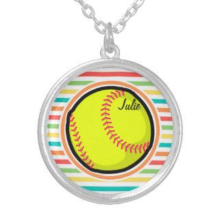 Softball Bright Rainbow Stripes Custom Necklace