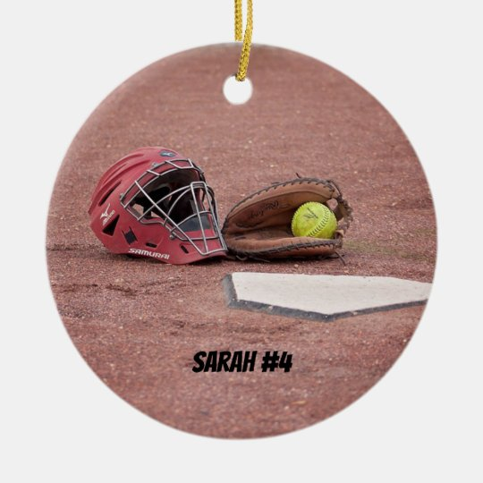 Softball Catchers Mask Christmas Ornament
