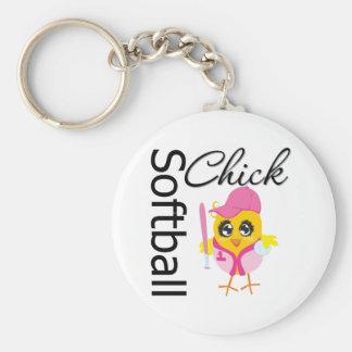 Softball Chick Basic Round Button Key Ring