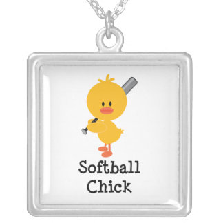 Softball Chick Sterling Silver Necklace