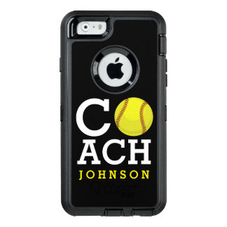 Softball Coach Custom Name OtterBox Defender iPhone Case