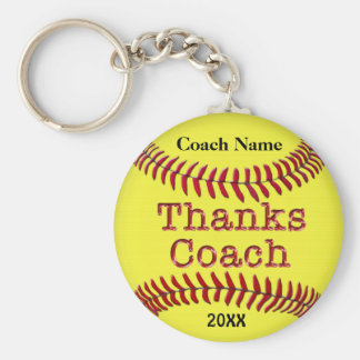 Softball Coach Gifts Ideas with NAME and YEAR Basic Round Button Key Ring
