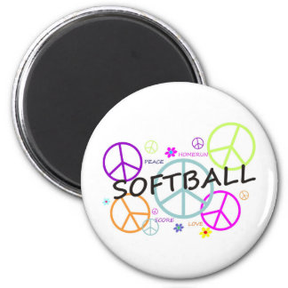 Softball Colored Peace Signs 6 Cm Round Magnet