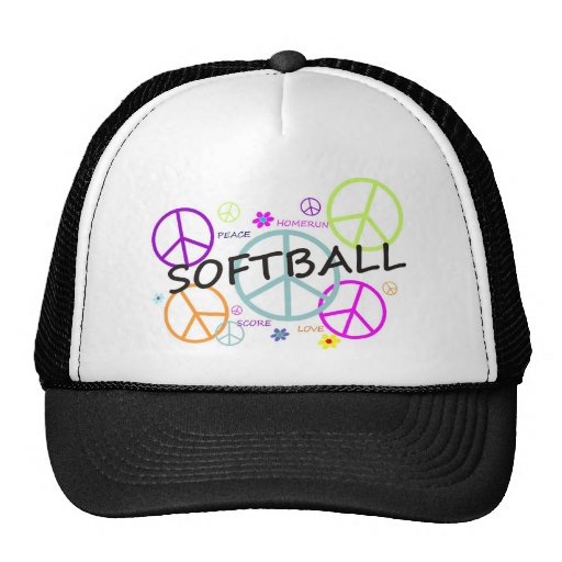 Softball Colored Peace Signs Mesh Hat