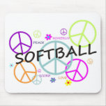 Softball Coloured Peace Signs Mouse Pad