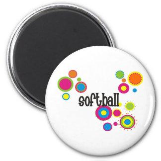 Softball Cool Polka Dots 6 Cm Round Magnet