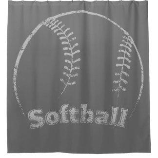 Softball Curved Grunge Shower Curtain