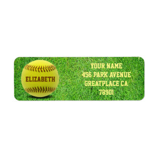 Softball Custom Ball Return Address Label