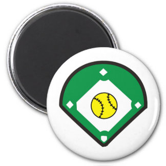 Softball Diamond 6 Cm Round Magnet