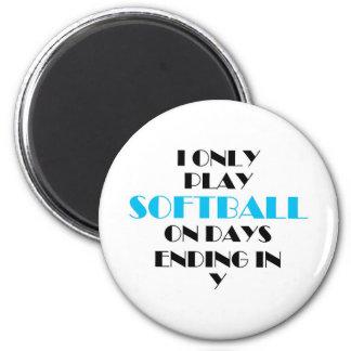 Softball Every Day Blue 6 Cm Round Magnet