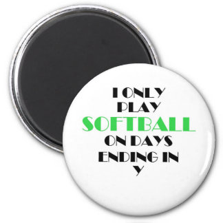 Softball Every Day Green 6 Cm Round Magnet