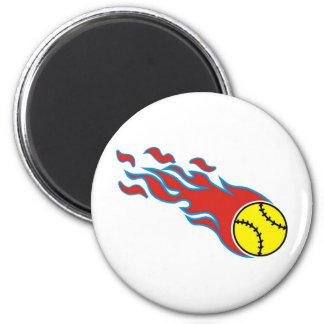 Softball fireball 6 cm round magnet