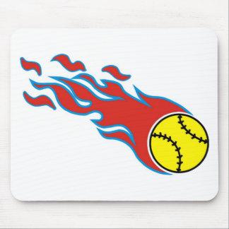 Softball fireball mouse pad