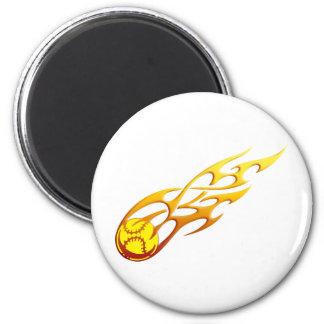 Softball Flame 6 Cm Round Magnet