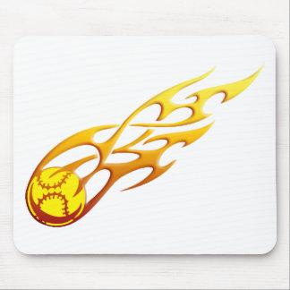 Softball Flame Mouse Pad