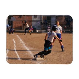 Softball game rectangular photo magnet