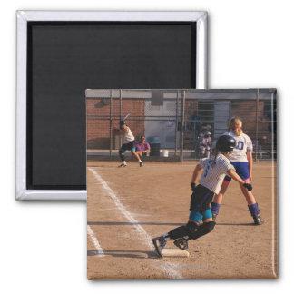 Softball game square magnet