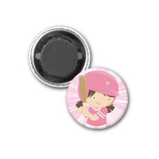 Softball Girl Batter in Pink and White 3 Cm Round Magnet