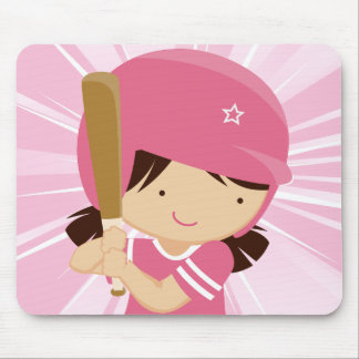 Softball Girl Batter in Pink and White Mousepads