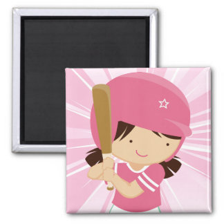 Softball Girl Batter in Pink and White Square Magnet
