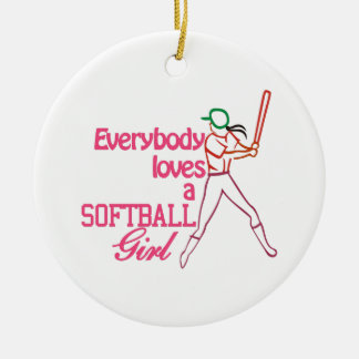 Softball Girl Ceramic Ornament