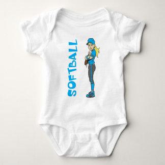 SOFTBALL GIRL PITCHER TEXT BABY BODYSUIT