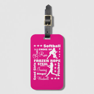 Softball Girls Sports Terminoligy Words Typography Luggage Tag